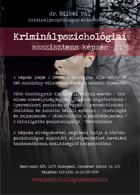 Best-Work szórólap - Kriminálpszichológiai képzés, 2011.