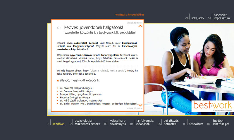Best-Work weblap, 2009.